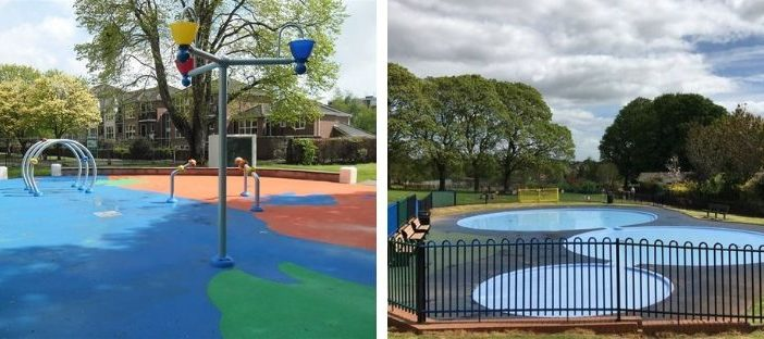 Photos of The Splash Pad water park at St Thomas Pleasure Ground and the paddling pools at Heavitree Pleasure Ground in Exeter. Pictures: Exeter City Council