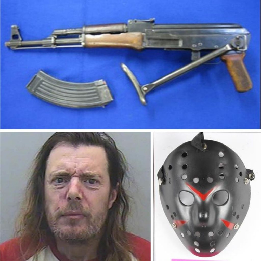 Photos of Sean Monger and his deactivated AK47 and the mask he wore