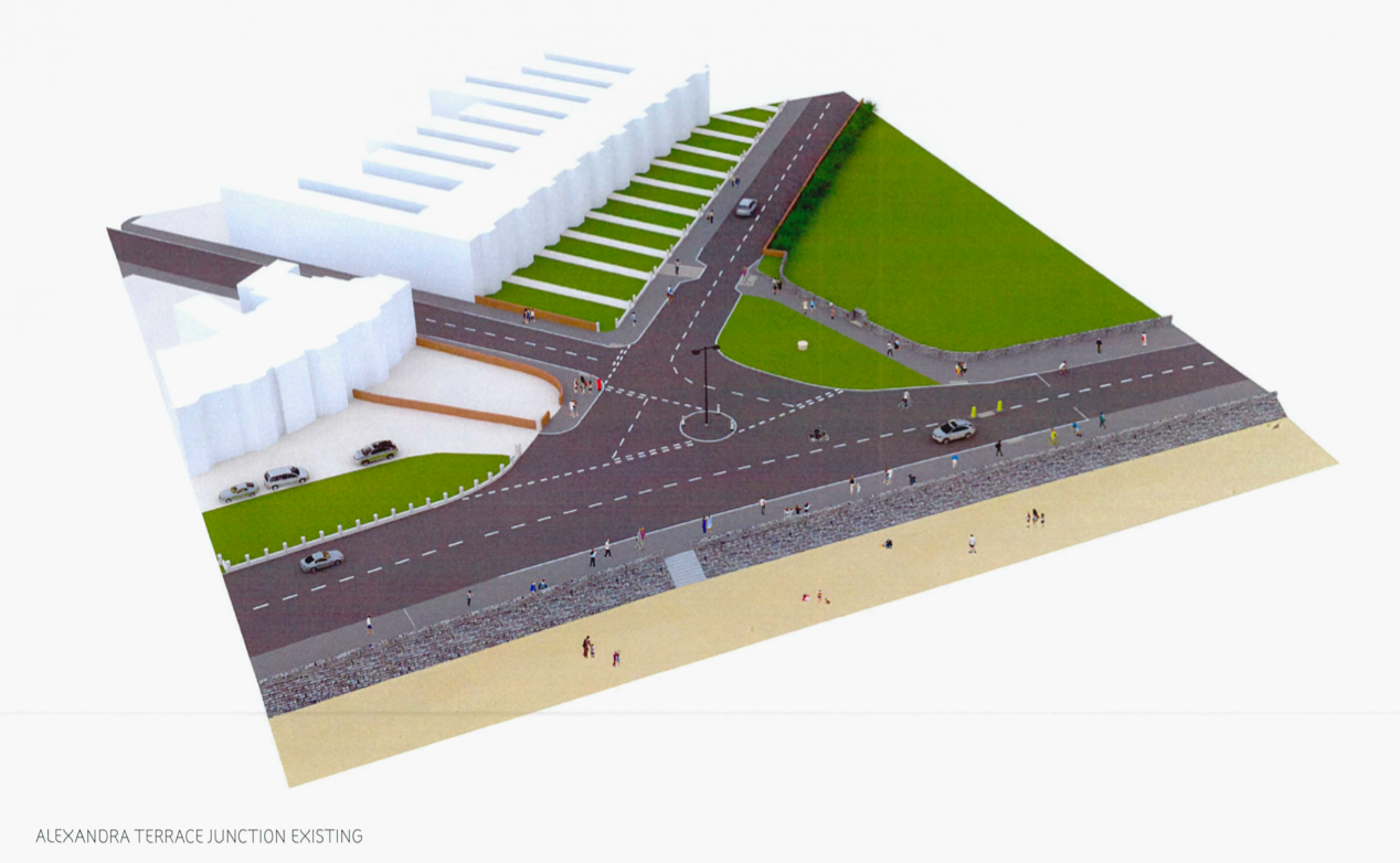 The current layout of the Alexandra Terrace junction with the Esplanade on Exmouth seafront.