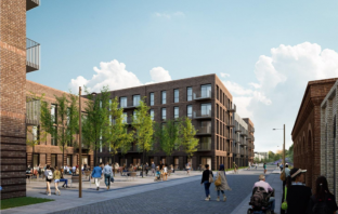 An artist's impression of Eutopia Homes's proposals for 400 homes in Prince Charles Road at the former Exmouth Junction Rail Yard in Exeter.