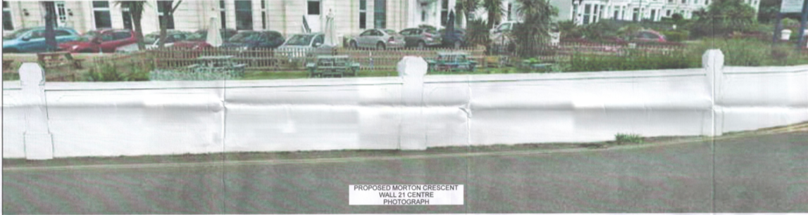 The proposed new Exmouth flood wall in Morton Crescent on the Esplanade.