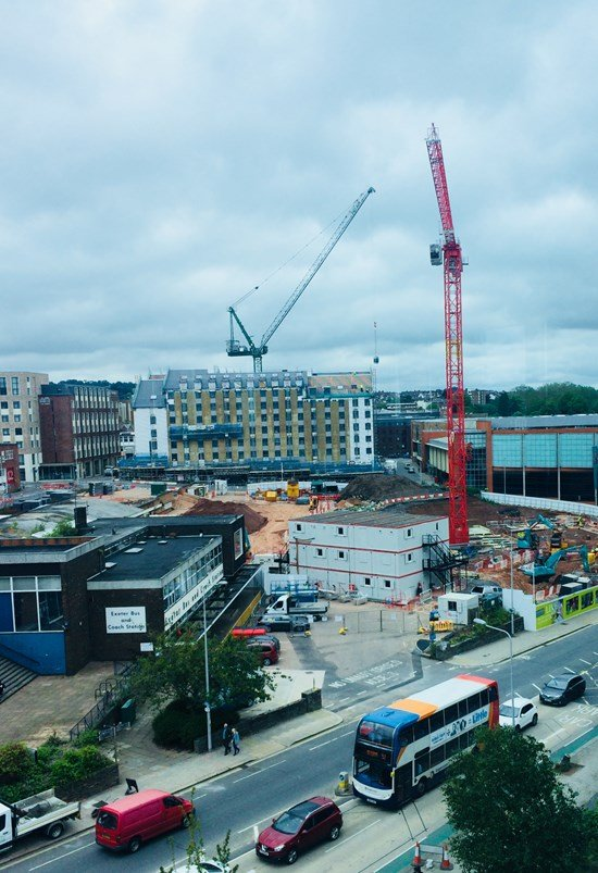 A photo of the huge crane on the site of Exeter Bus Station