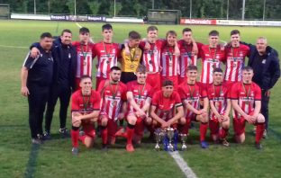 A photograph of Exmouth Town Football Club Under-18s following victory in the Devon Youth League Cup final. Picture by Martin Cook