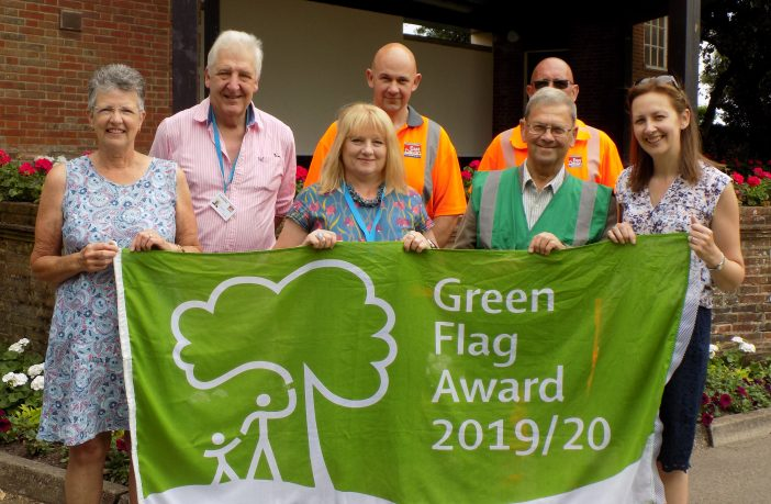 Connaught Gardens (left to right): Ann Leake(WI), Cllr Jung (East Devon portfolio holder for the environment), Noel Sinker, Alan Fowler (StreetScene), Sharon Scott (parks improvement officer), Peter Endersby (Sidmouth in Bloom), Jane Nicholls (parks improvement officer) Photo: EDDC