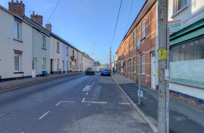 A photo of Ottery high street known as Mill Street