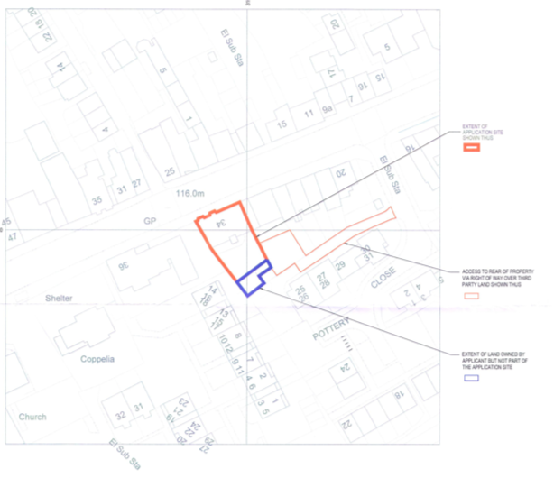 Plans for new homes in Honiton at 32-34 High Street.