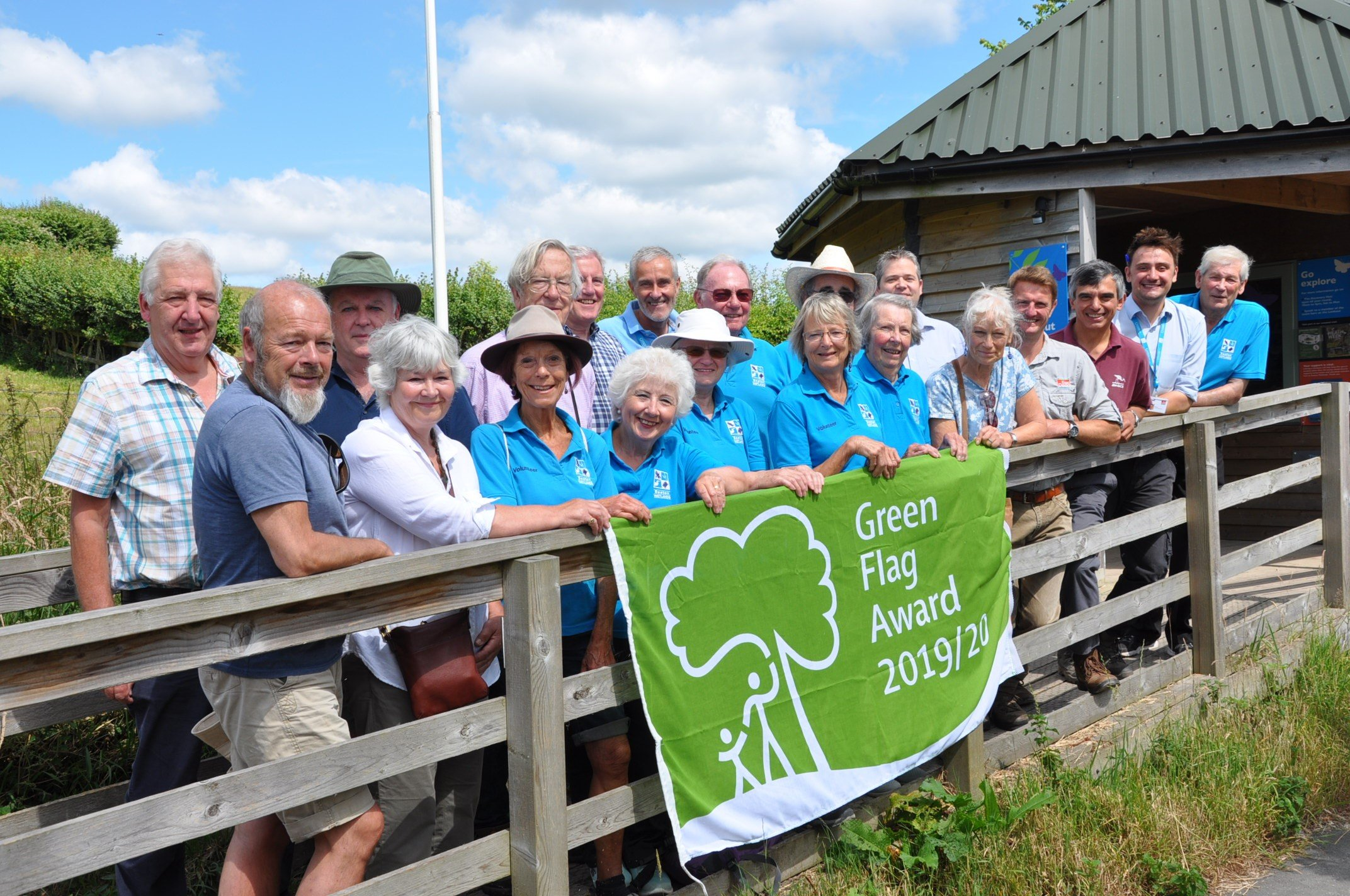 Seaton Wetlands: Volunteers, members of East Devon's Countryside team, ward members and East Devon's environment portfolio holder Cllr Jung celebrating Seaton Wetlands' Green Flag Award. Photo: EDDC