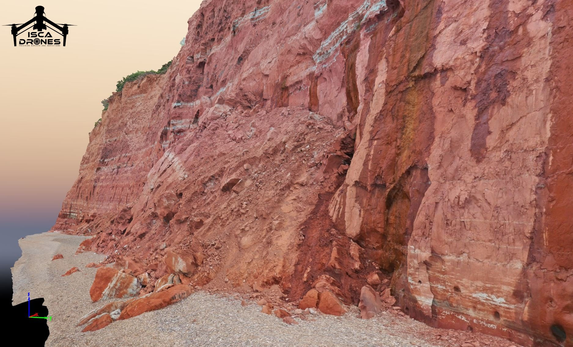 Sidmouth cliffs - Image courtesy of ISCA Drones.