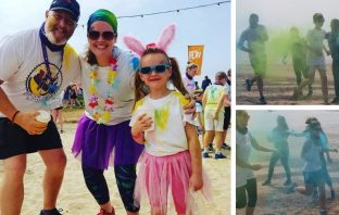 Colourful scenes from the Colour Bomb in Exmouth in aid of the Deaf Academy