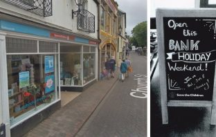 Sidmouth charity shop Save the Children in Church Street. Health and safety concern over advertising board