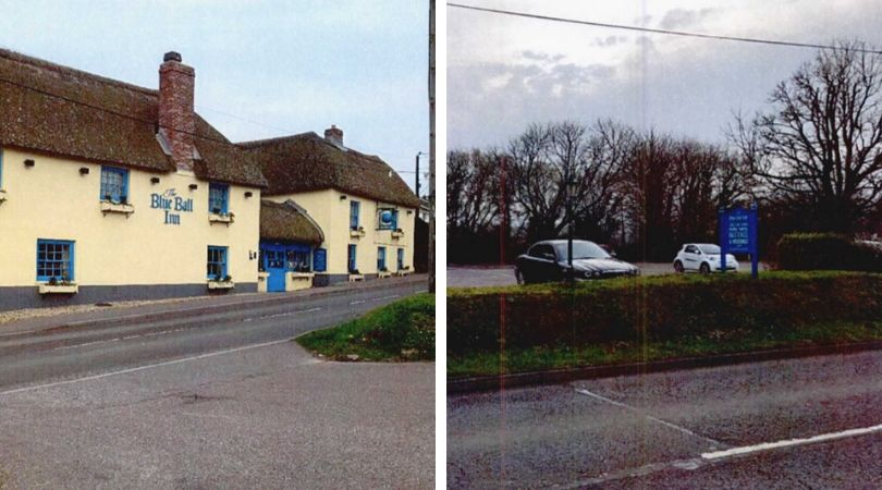 The Blue Ball Inn's car park is across the road from the pub, restaurant and hotel. Sidford is near Sidmouth.