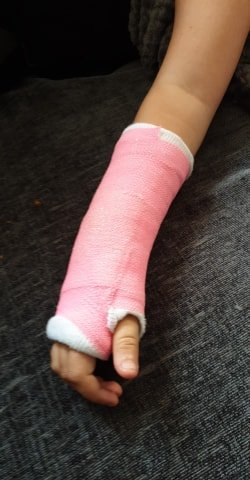 The mum's eight-year-old daughter broke her arm after taking a tumble fleeing in panic from the rodents.