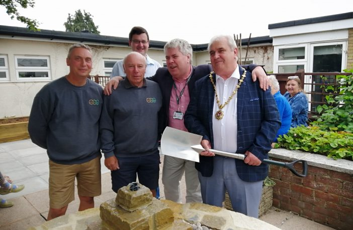 Honiton 55-Plus Centre Cllr John Zarczynski was joined by Cllr Phil Twiss and landscapers Mike Wale and Jonathon Barker for the garden's official opening. Picture: Belinda Bennett