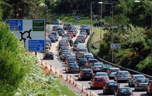 Traffic queuing on the approach to Exeter