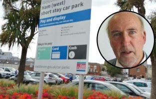 Ham West car park Sidmouth Cllr Stuart Hughes