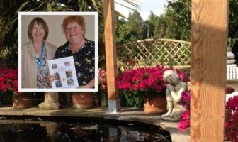 Blooming' marvellous: Cllr Megan Armstrong with overall winner Elizabeth Martyn, of Otterton. Also pictured is Elizabeth's garden.