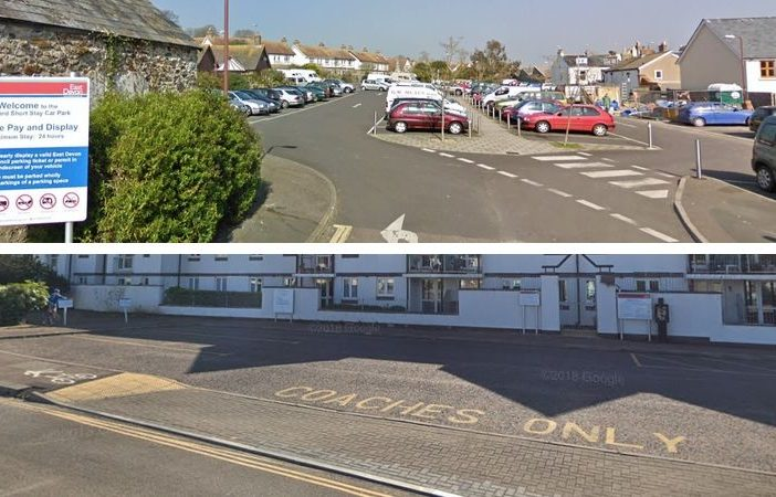 Top: the coast park at Seaton Jurassic. Botton: the Orchard car park. Pictures courtesy of Google Maps.