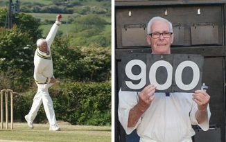 David O'Higgins bowling (left) and (right) after he claimed his 900th Tipton wicket in the 2018 season. Pictures: Phil Wright