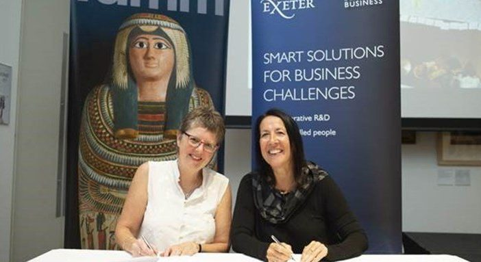 Cllr Rachel Sutton, portfolio holder for culture and climate on Exeter City Council, and Professor Janice Kay, University of Exeter provost and senior deputy vice-chancellor. Exeter museum agreement