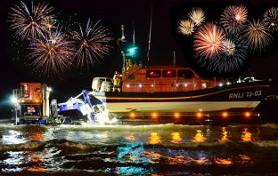 Exmouth fireworks: The Exmouth RNLI all-weather lifeboat R&J Welburn. Picture: John Thorogood/Exmouth RNLI