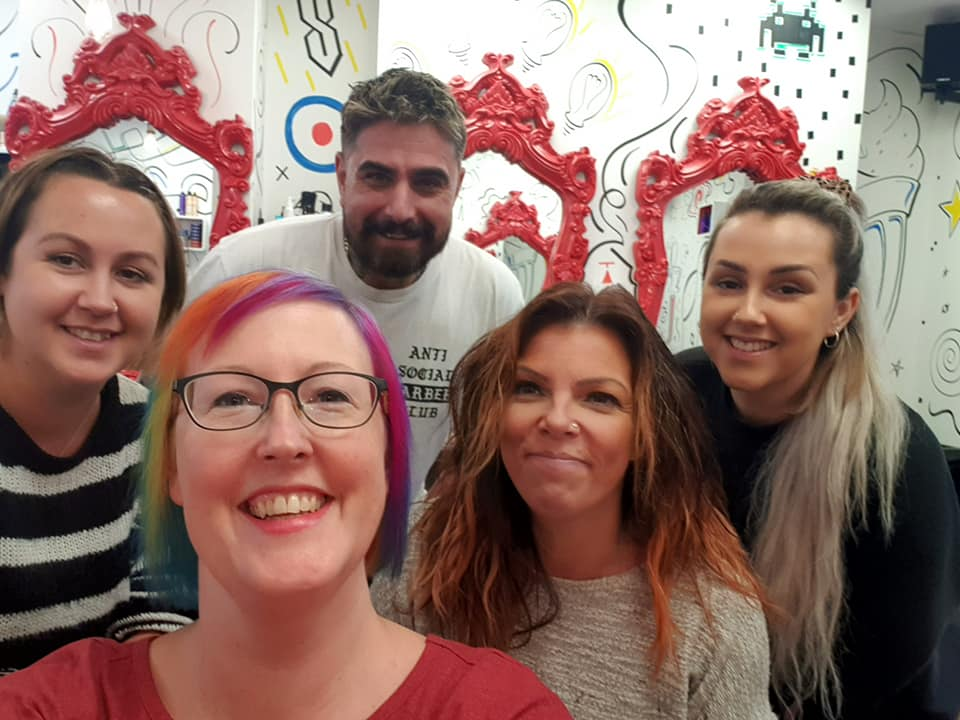 Natalie Morrison will be sporting rainbow-coloured hair during her challenge thanks to staff at Summer and Lola – Exmouth Hairdressers and Barbers. The business did her hair for free – and event turned down a tip to boost the fundraising effort.