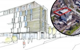 An artist's impression of plans for student flats in Gladstone Road, Exeter.