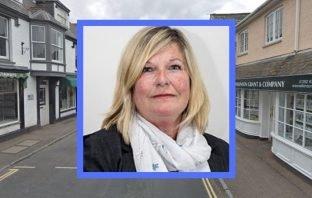 Former Topsham councillor Catherine Pierce. Background image courtesy of Google Maps.