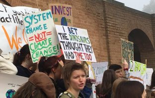 Carbon neutral plea: School, college and university students ditched the classroom to congregate at Devon County Hall to take part in the first UK-wide education strike over climate change.