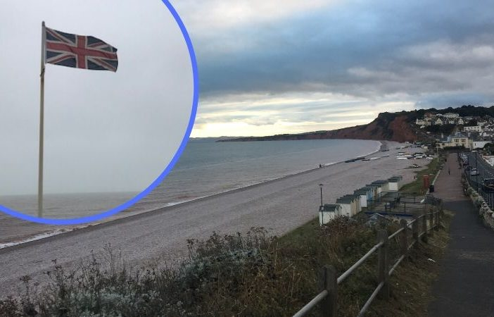 Union Jack flag on Budleigh Salterton seafront