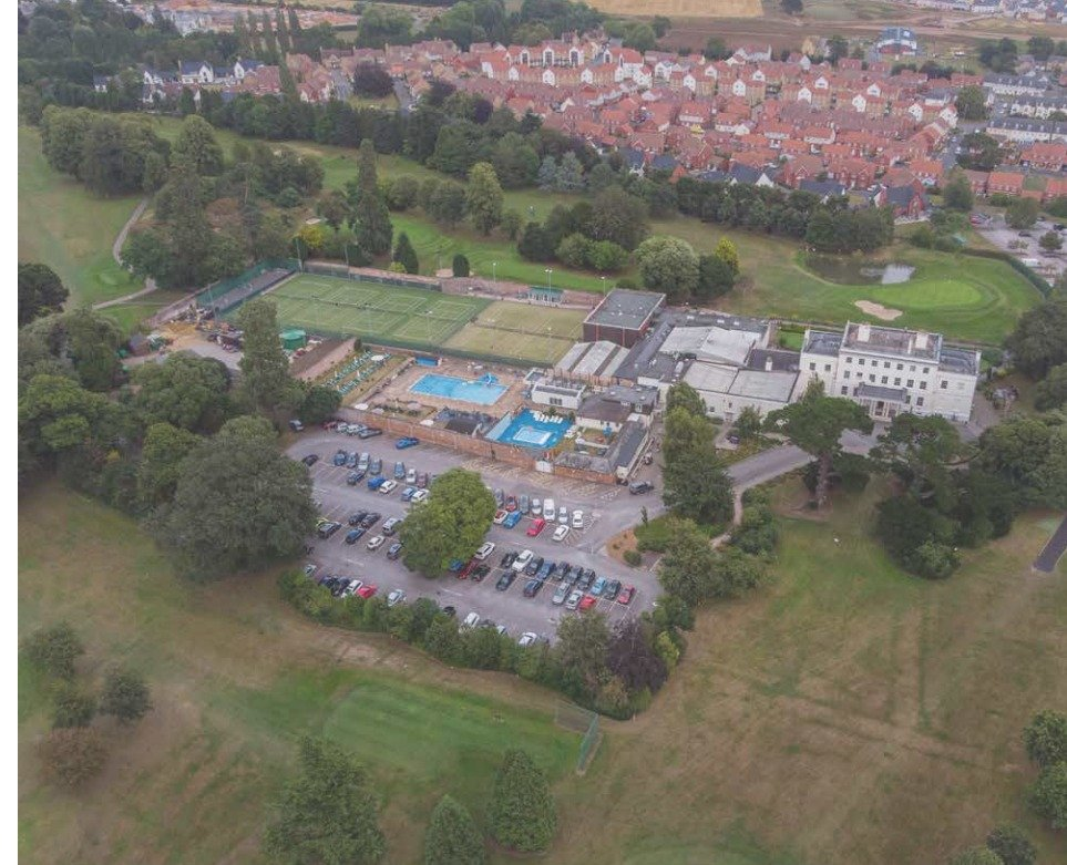 An aerial view of Exeter Golf and Country Club.