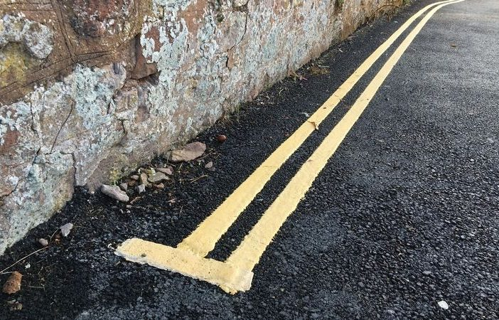Stock photo - double yellow lines. Devon Exmouth East Devon Exeter