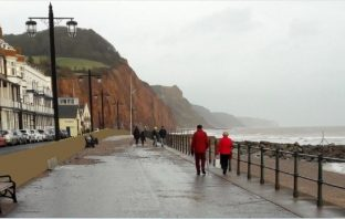 An artist's impression of the raised Sidmouth sea wall.