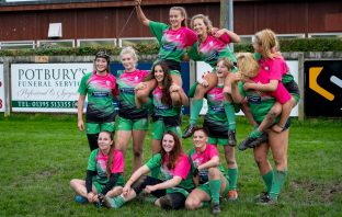 Sidmouth Under-18s girls' rugby side celebrate. Picture: contributed