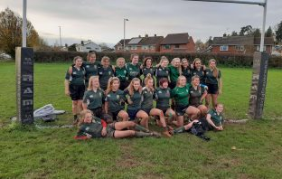 Sidmouth Under-15s girls rugby team celebrate victory. Picture: Dominic Fraser