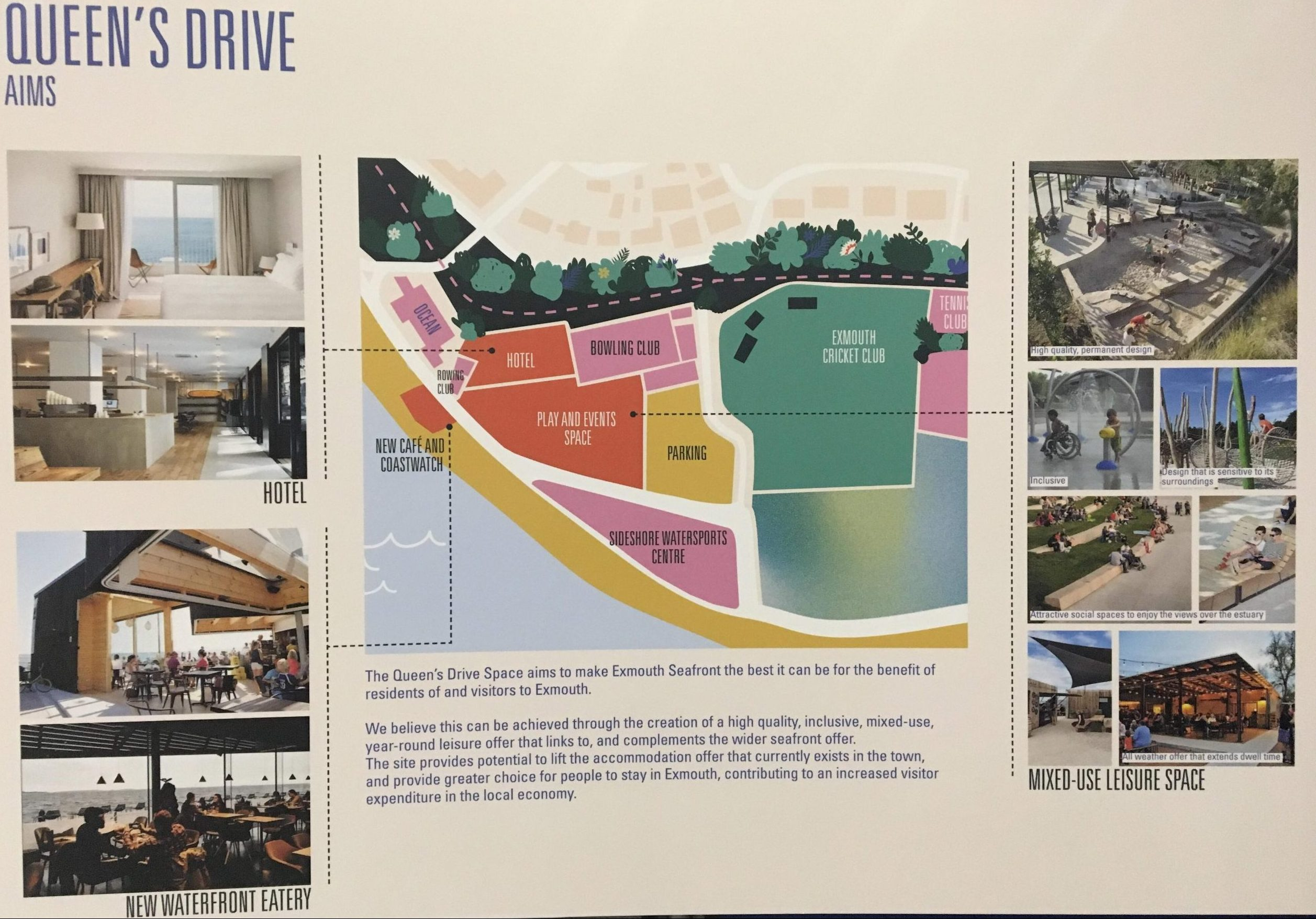 One of the boards on display at the public exhibition at Ocean in Exmouth. The area in orange is the last phase of development.