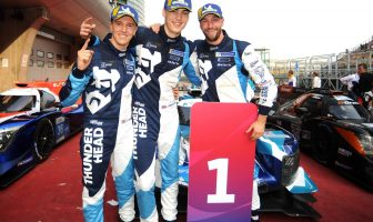 Harry Tincknell, of East Devon, with Thunderhead Carlin Racing teammates Jack Manchester and Ben Barnicoat.