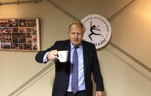 Prime Minister Boris Johnson at Darts Farm in East Devon.