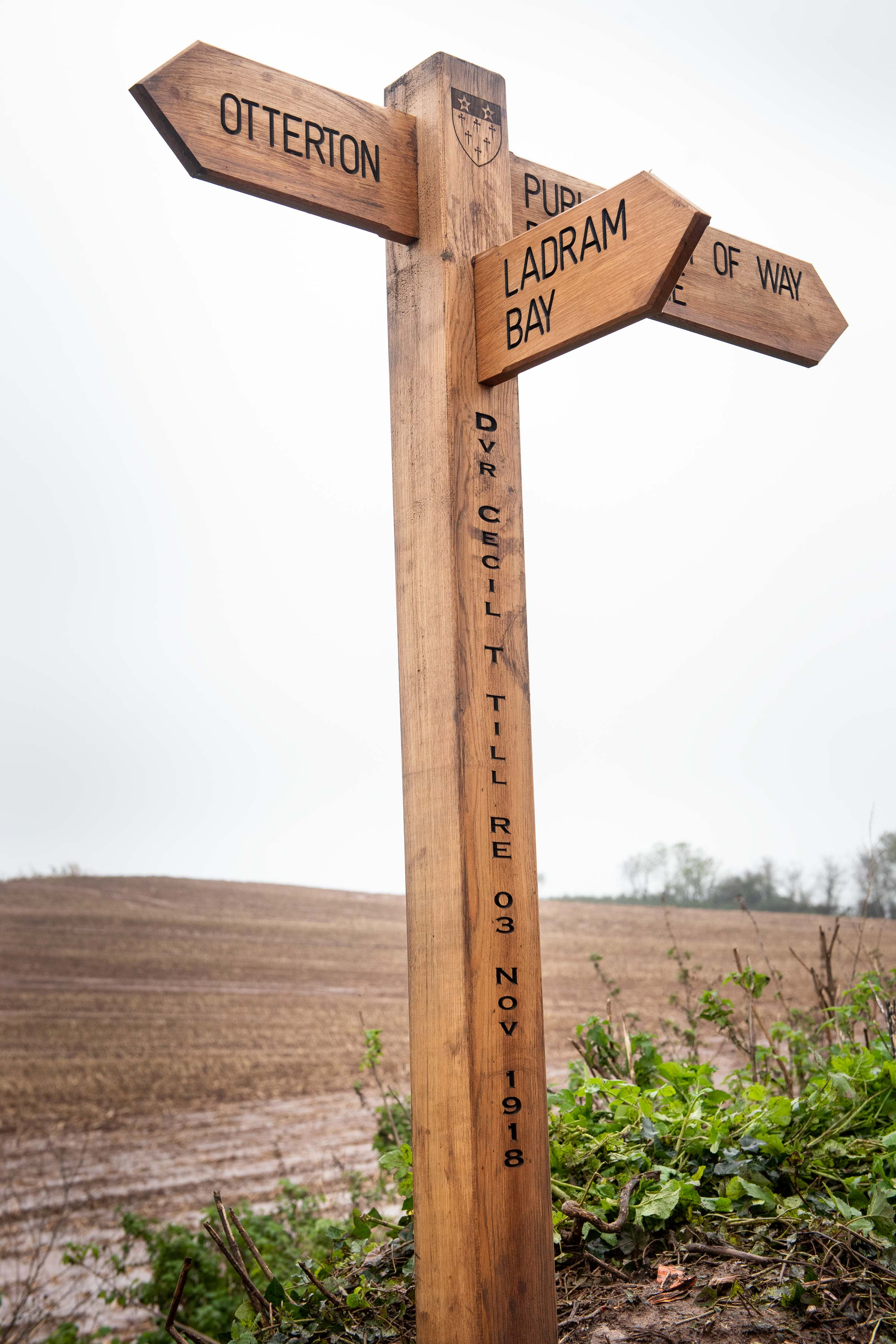 One of the  new waymarker signs that honour the World War One heroes in Otterton. Picture: Guy Newman/Rekord Media