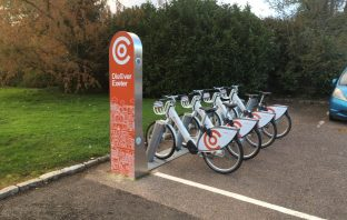 The Co-bikes station at County Hall, Exeter.