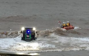 Exmouth inshore lifeboat George Bearman II launches to recover the drifting vessel. Picture: Chris Sims RNLI