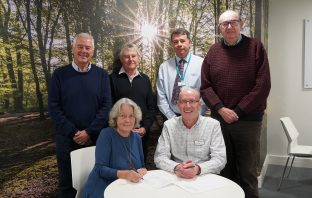 Front row: Helen Enright, chair of trustees of Exmouth and Lympstone Hospiscare, with her Hopsiscare counterpart Geoff Pringle. Top row: They are joined by (l-r) Ken Groves, Exmouth trustee; John Hawkins, Exmouth trustee; Andrew Randall, interim CEO at Hospiscare; Geoff Bush, trustee – Hospiscare.