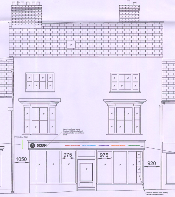 Plans for the proposed Oxfam store in High Street, Sidmouth.