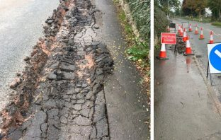 The damaged pavement in Coly way, Colyton, and Devon County Council's diversion for pedestrians.