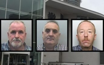 (l-r) Dennis McGinley, John Maughan and Luke Connors targeted farmers. They were jailed at Exeter Crown Court.