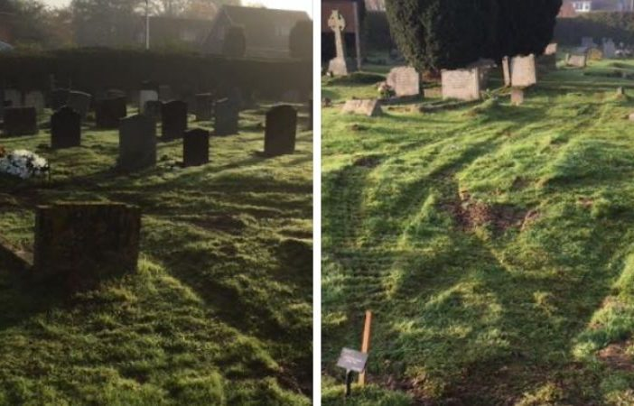 Tyre ruts at Ottery cemetery which prompted the claim. Pictures: Ottery Town Council