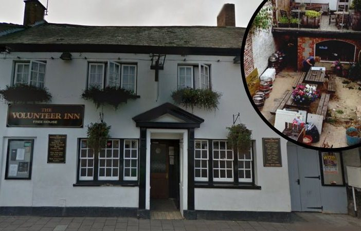 The Volunteer Inn, in Broad Street, Ottery St Mary (picture; Google Maps). Inset: A photo of the pub's courtyard featured in the planning application.