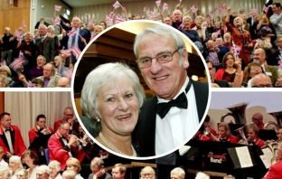 The Classics Galore! concert will be held in memory of Dick Passmore, pictured with us wore Posy.