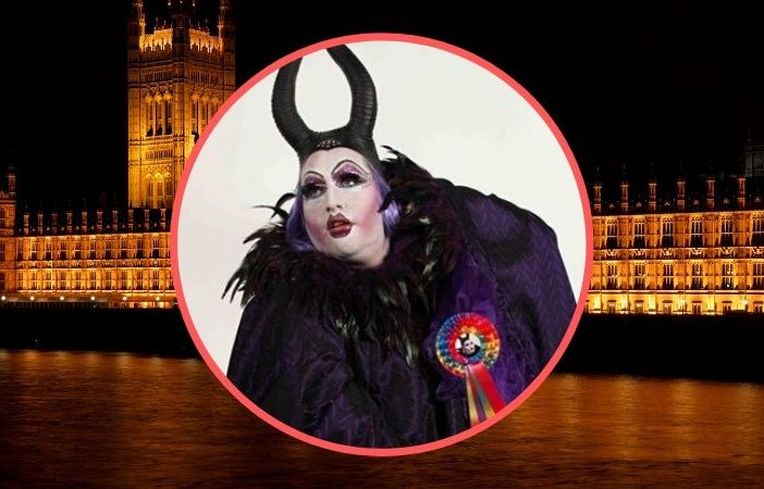 Daniel Page as his theatrical alter-ego, pantomime dame Dame Belladone - is standing as an Independent parliamentary candidate for Exeter in the general election.