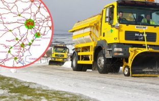 A Devon County Council gritter in the snow. Inset - The Primary Salting Network in Devon. Pictures: Devon County Council