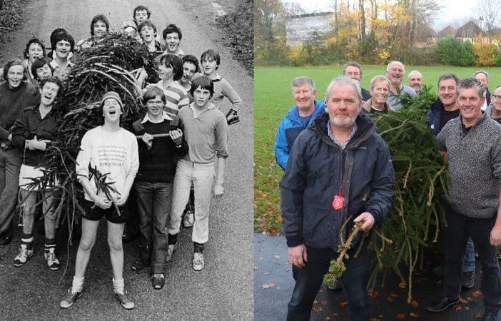 Sidmouth College alumni from 1979 reunited to recreate a photo from the very first Christmas tree carry four decades ago. Pictures: Sidmouth College